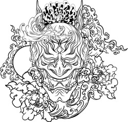 Clipart Japanese Demon's mask tattoo design full back body.The Oni mask with water splash and peony flower,cherry blossom and peach blossom on cloud background.