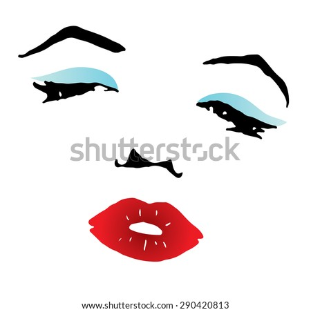 clipart of a beautiful woman with red lips and blue eyeshadow