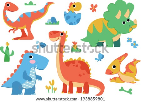 Clipart set of cute colored dinosaurs. T-rex, diplodocus, triceratops, pterodactel. Vector illustration in cartoon style. Stock foto ©