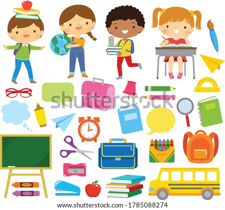 Clipart set of school kids and school supplies.