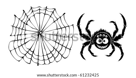 Clipart spider and web - simple objects on white background. Spider is a positive character with fun smile and some eyes on his face.