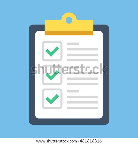 Clipboard and check marks. Flat style design vector illustration