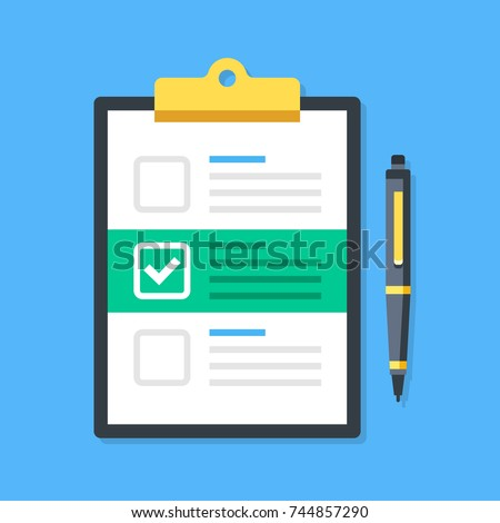 Clipboard and checkboxes with check mark. Pad, checklist, white tick, checkmark on document and pen. Claim, survey, form concepts. Top view. Modern flat design graphic elements. Vector illustration