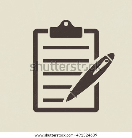 Clipboard and pen icon - Vector