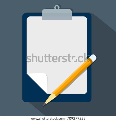 Clipboard and pencil, Vector modern flat illustration empty sheet of paper and pencil Clipboard with blank paper and pencil-Vector Eps10 Illustration