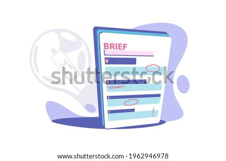 Clipboard brief paper vector illustration. Business brief with red marks flat style. Short review with information. Summary or brief concept. Isolated on white background Stockfoto ©
