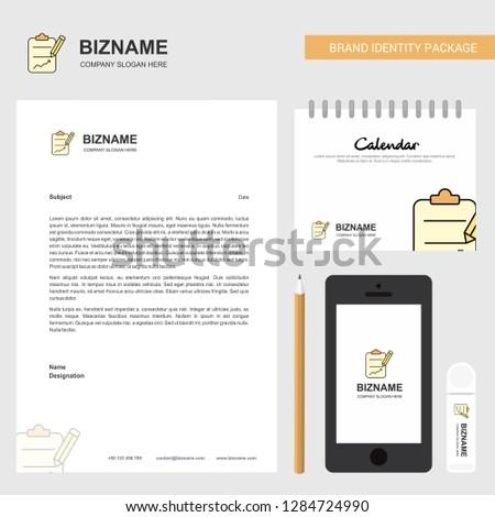 clipboard Business Letterhead, Calendar 2019 and Mobile app design vector template