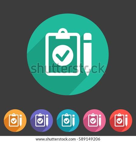 clipboard checklist icon. flat web sign symbol. logo label set