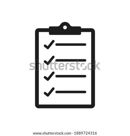 clipboard  icon, clip board check list isolated on a white background, list business concept, vector illustration