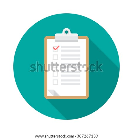 Clipboard icon with long shadow. Flat design style. Round icon. Checklist clipboard silhouette. Simple circle icon. Modern flat icon in stylish colors. Web site page and mobile app design element.