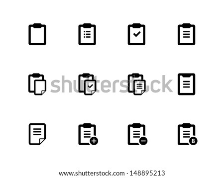 Clipboard icons on white background. Vector illustration.