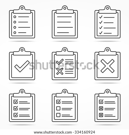 Clipboard icons with check and cross symbols, minimal line style, vector eps10 illustration