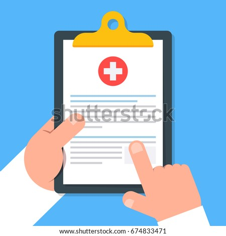 Clipboard in hand doctor. Doctor consider notes in a Clipboard. Medical report, medical background. Vector, flat design. Patient care. Top view.