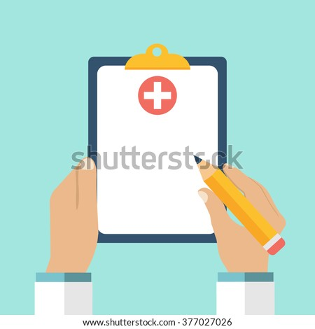 Clipboard in hand doctor. Doctor takes notes in a Clipboard. Medical report, medical background. Vector, flat design. Patient care. Blank, template. #377027026