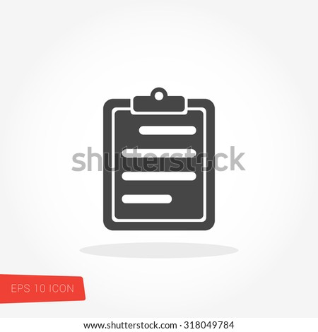 Clipboard Isolated Flat Web Mobile Icon / Vector / Sign / Symbol / Button / Element / Silhouette