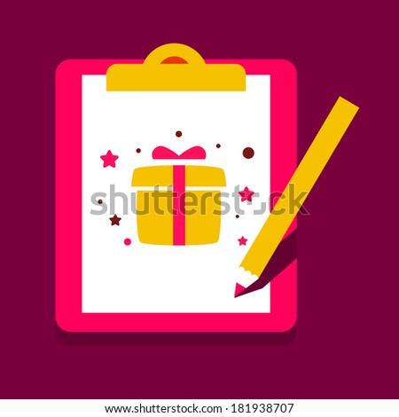 clipboard office  and pencil with a gift box. Document about presents.