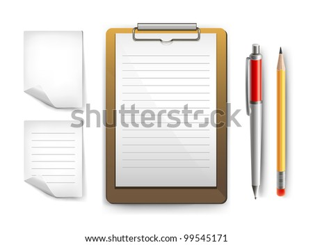 Clipboard, papers, pen and pencil. Vector collection