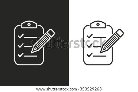 Clipboard pencil  -  black and white icons. Vector illustration