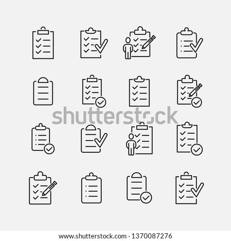 Clipboard related vector icon set. Well-crafted sign in thin line style with editable stroke. Vector symbols isolated on a white background. Simple pictograms