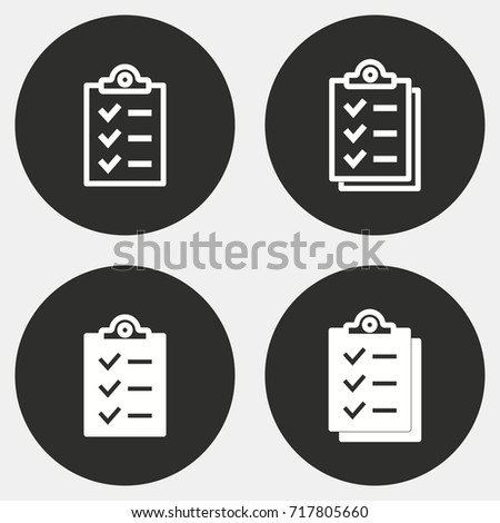 Clipboard vector icon. Illustration isolated for graphic and web design. Round button.