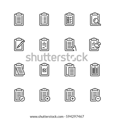 Clipboard vector icon set in thin line style
