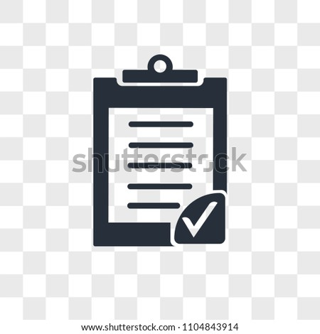 Clipboard verification vector icon isolated on transparent background, Clipboard verification logo concept