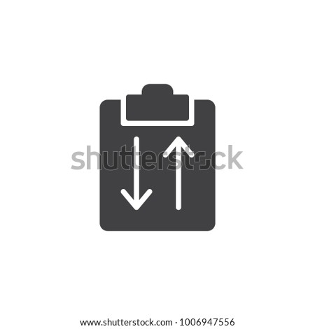 Clipboard with arrows icon vector, filled flat sign, solid pictogram isolated on white. Symbol, logo illustration.
