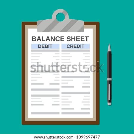 Clipboard with balance sheet and pen. Financial reports statement and documents. Accounting, bookkeeping, debit and credit calculations. Vector illustration in flat style