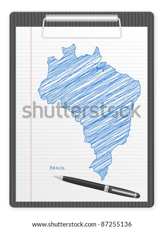 Clipboard with Brazil drawing map. Vector illustration.