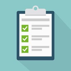 Clipboard with check list flat vector icon with long shadow. To-do list, survey, exam concepts. Vector illustration.