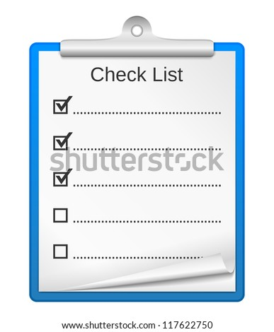 Clipboard with check list, vector eps10 illustration