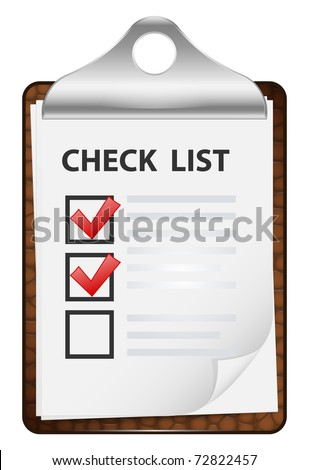 Clipboard with check list. Vector icon