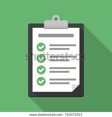 Clipboard with checklist icon. Flat illustration of clipboard with checklist icon for web