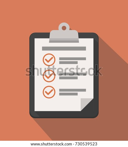 Clipboard with checklist icon. Flat illustration of clipboard with checklist icon for web. Vector illustration.
