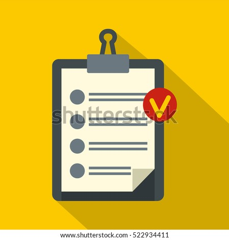 Clipboard with checklist icon. Flat illustration of clipboard with checklist vector icon for web isolated on yellow background