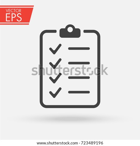 Clipboard with checklist icon. Paper clipboard document symbol. Note checklist vector illustration sign.