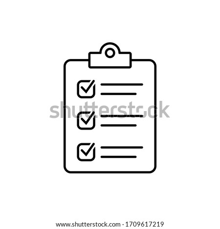 Clipboard with checklist icon, symbol for web site and app design.