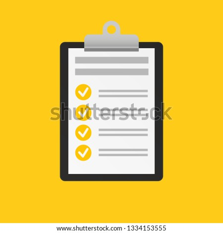 Clipboard with checklist icon trendy on yellow trendy background. Flat style design for web. Vector illustration.