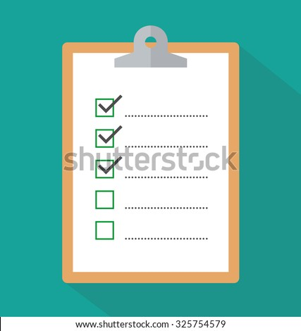 Clipboard with checklist icon with long shadow. flat style