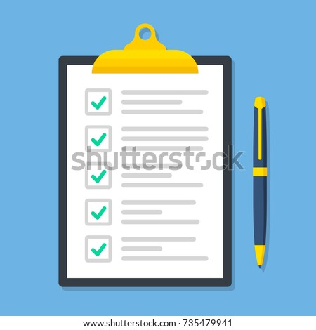 Clipboard with checklist in a flat style - stosk vector.