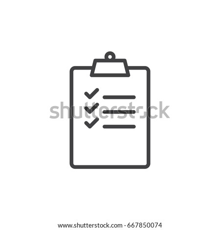 Clipboard with checklist line icon, outline vector sign, linear style pictogram isolated on white. Symbol, logo illustration. Editable stroke. Pixel perfect graphics