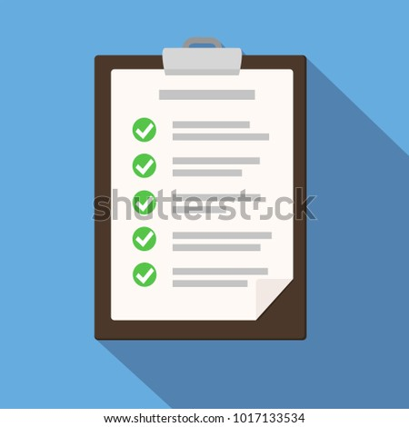 Clipboard with checklist on blue. Flat illustration of clipboard with checklist for web stock vector