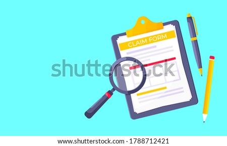 Clipboard with claim form on it, paper sheets, magnifying glass isolated on light blue background flat style design vector illustration. Concept of fill out or online survey insurance application form Photo stock ©