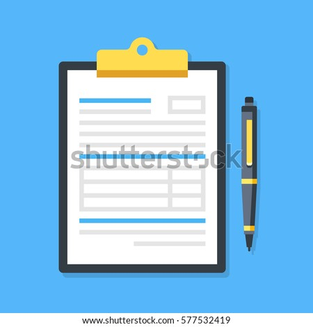 Clipboard with document and pen. Filling insurance claim form, paperwork, income tax form, write a report, business concepts. Premium quality. Modern flat design graphic elements. Vector illustration.