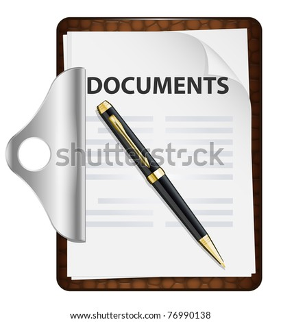 Clipboard with documents and pen. Vector icon