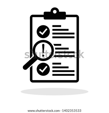Clipboard with exclamation icon in trendy flat style. Checklist / Quality control / Audit for your web site design, logo, app, UI Vector EPS 10.  Сток-фото ©