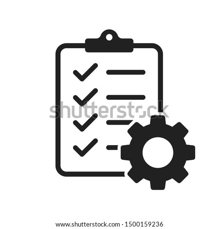 Clipboard with gear isolated icon. Technical support check list icon. Management flat icon concept. Software development. EPS 10