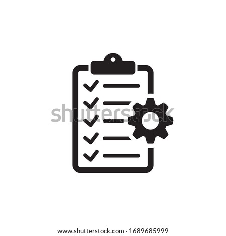 Clipboard with gear isolated icon. Technical support check list icon. Management flat icon concept. Software development.