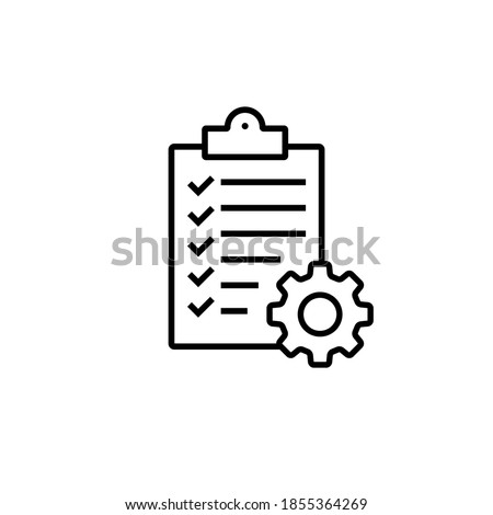 Clipboard with gear isolated icon. Technical support check list icon. Management flat icon concept. Software development. Vector illustration. Foto d'archivio ©