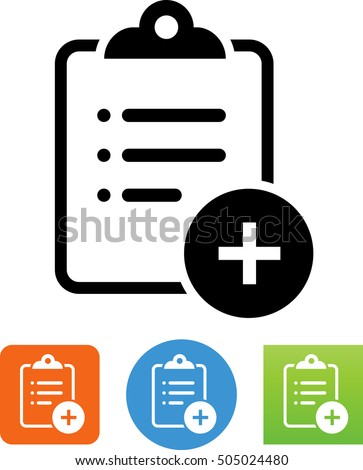 Clipboard With List And Plus Sign Icon.